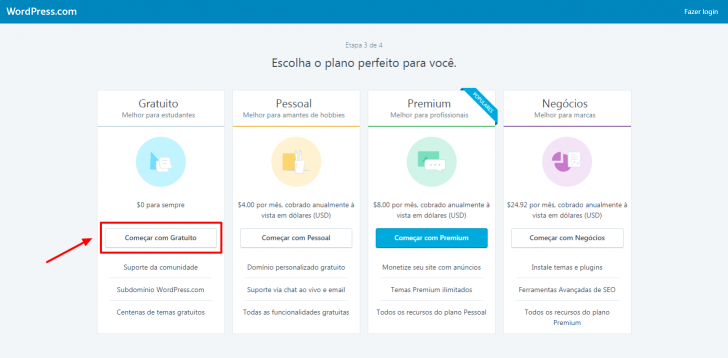 Escolha de plano no WordPress.com