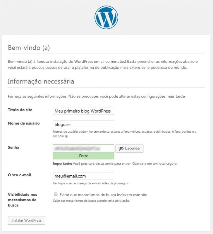Tela de instalação do WordPress