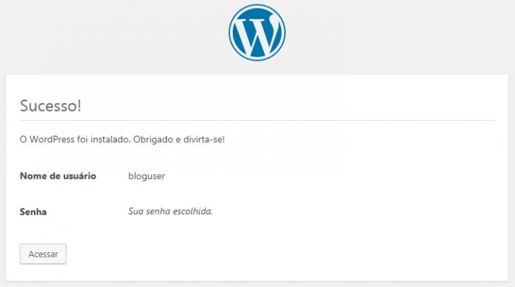 Tela de confirmação de instalação do WordPress