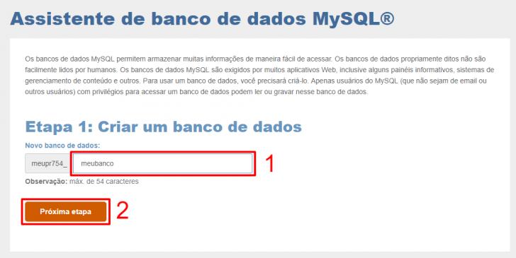 Etapa 1 da criação de um banco de dados MySQL