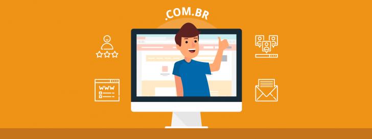 Homem na tela de um computador exibindo as vantages de ter um domínio personalizado