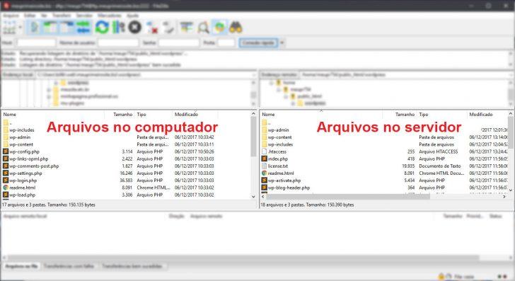 Visualização de arquivos no Filezilla