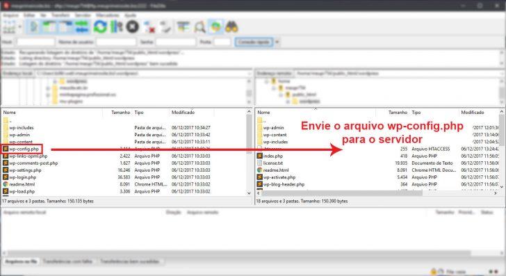 Filezilla enviando arquivos para o servidor