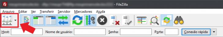 Filezilla - botão de gerenciar sites