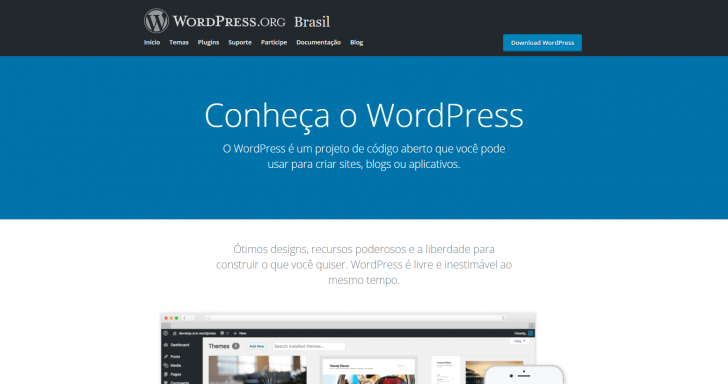 Página inicial do site WordPress.org