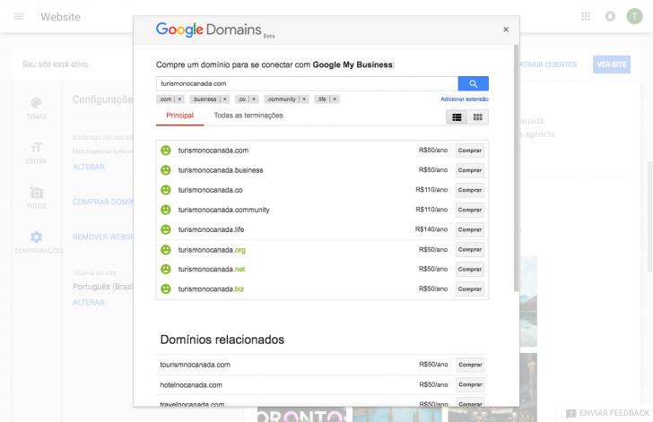 Página de compra de domínio no Google Domains