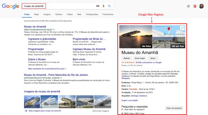 Resultado Google Meu Negócio na Pesquisa Google