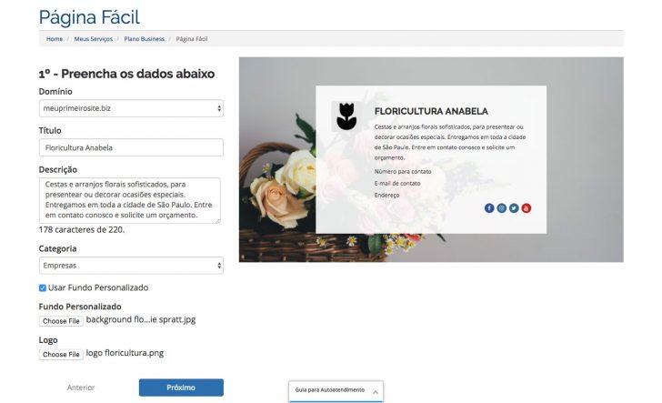 Tela Página Fácil HostGator