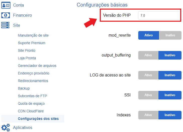 Alteração da versão do PHP no painel da Hostnet