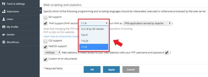 Alteração da versão do PHP no painel Plesk