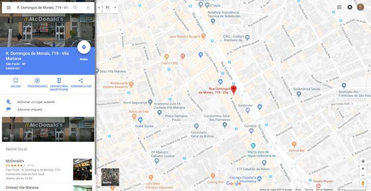 Exemplo de página do Google Maps
