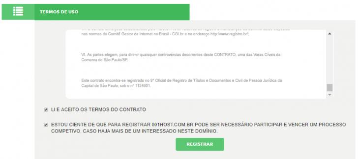 É necessário aceitar os termos de uso do Registro.br