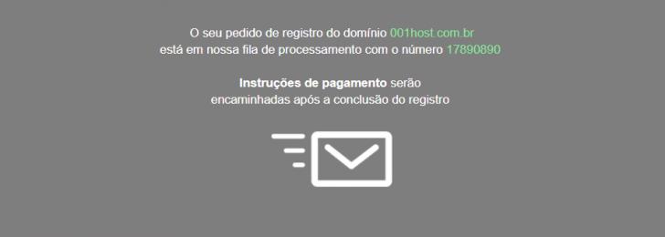 Mensagem de confirmação da candidatura ao registro do domínio