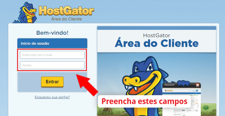 Login da área do cliente HostGator