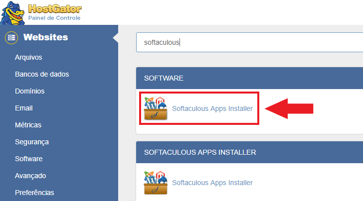 Link para o Softaculous Apps Installer no cPanel