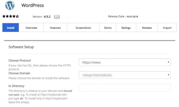 Configurações básicas do WordPress no Softaculous