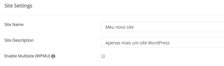 Configurações do site no Softaculous