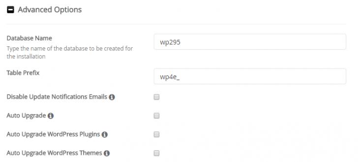 Opções avançadas da instalação do WordPress via Softaculous
