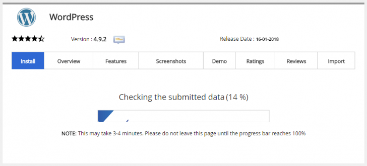 Barra de progresso da instalação do WordPress