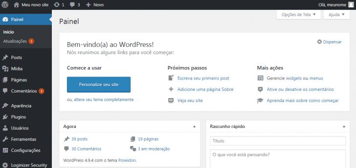 Página inicial do painel do WordPress