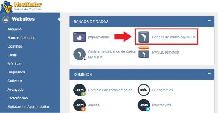 Link para a seção banco de dados no cPanel