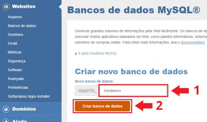 Criação do banco de dados no cPanel