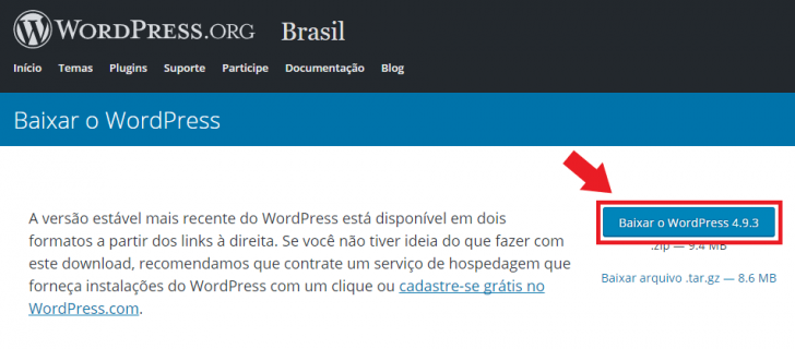 Página de download do WordPress