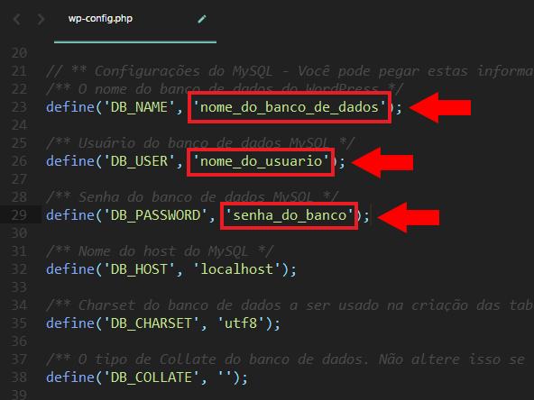 Edição do arquivo wp-config.php