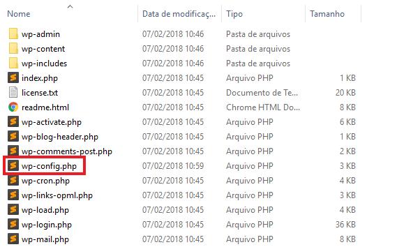 Lista de arquivos após a criação do arquivo wp-config.php