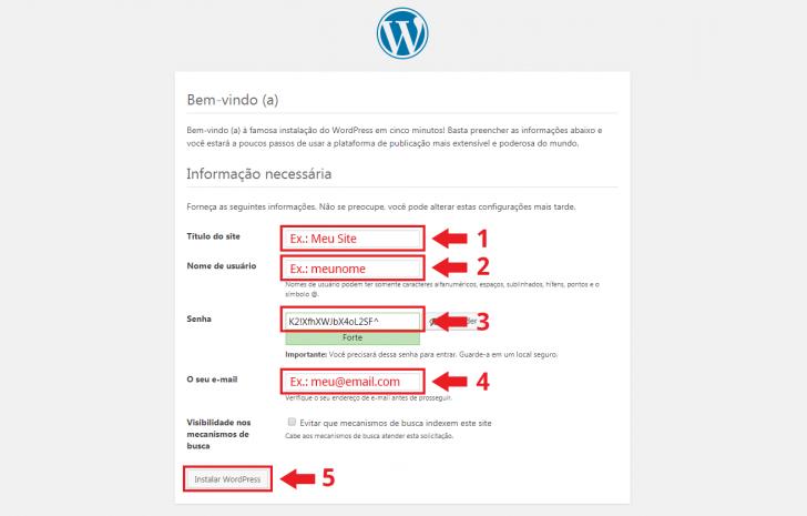 Tela de instalação do WordPress no navegador