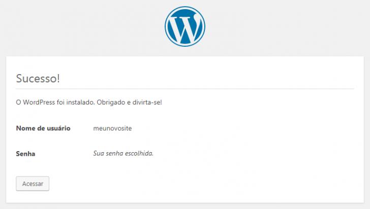 Tela de confirmação da instalação do WordPress