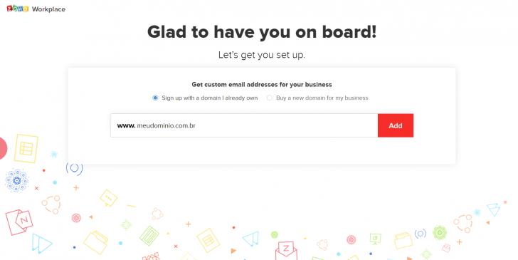 Campo para informar o domínio que deseja usar no Zoho Mail