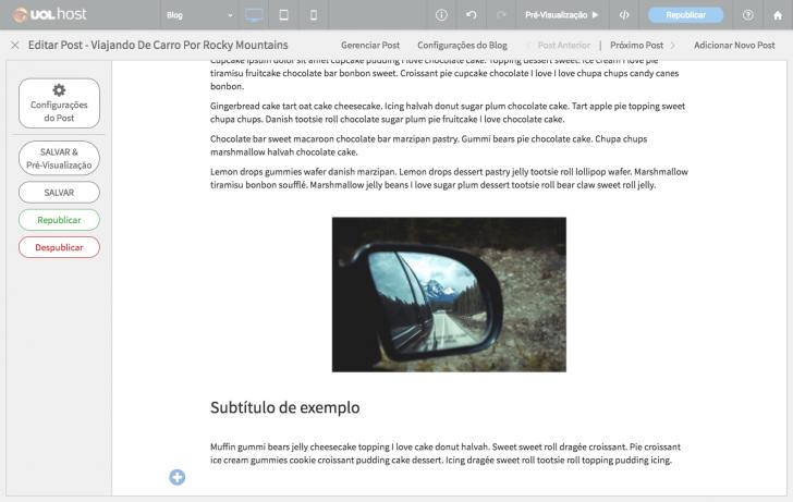 Área de edição de posts - título, texto e imagem são inseridas separadamente