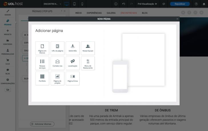 Tipos de páginas pré-existentes no criador de sites UOL