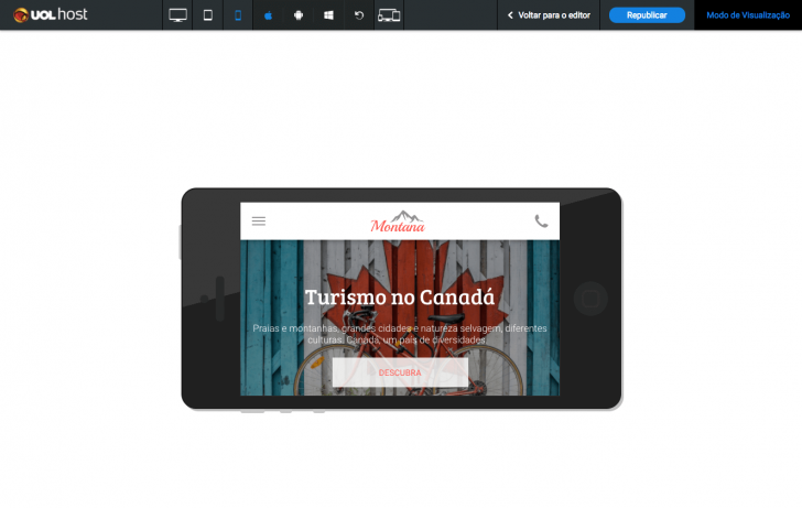 Visualização mobile no sistema iOS