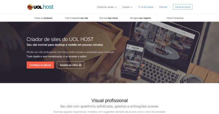 Página do criador de sites UOL