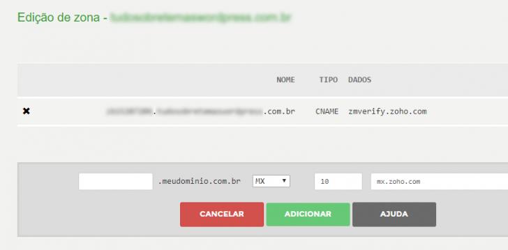 Configuração de registros MX