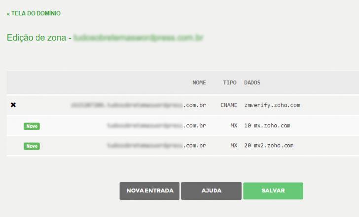 Área de edição de zona no Registro.br
