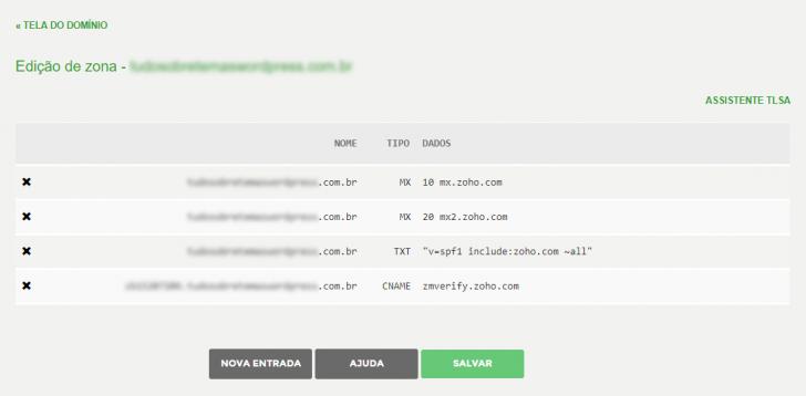 Tela de edição de zona de domínio no Registro.br