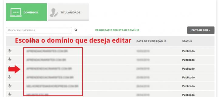 Lista de domínios no Registro.br