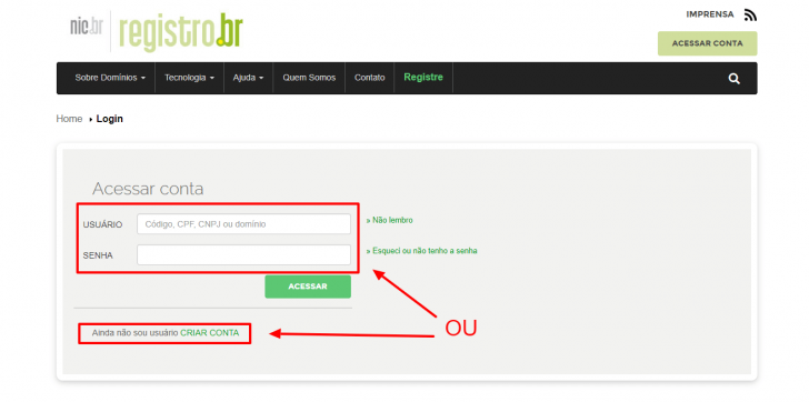 Tela de login do Registro.br