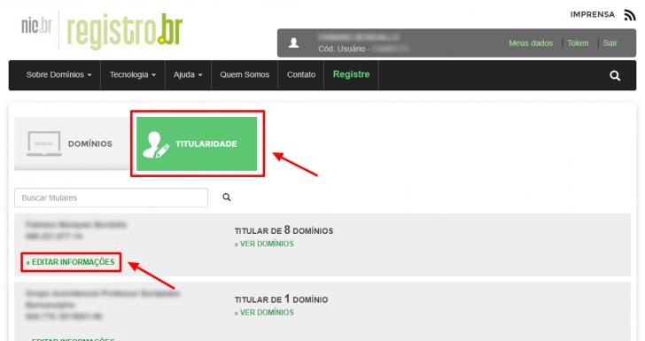 Titularidade - editar informações no Registro.br