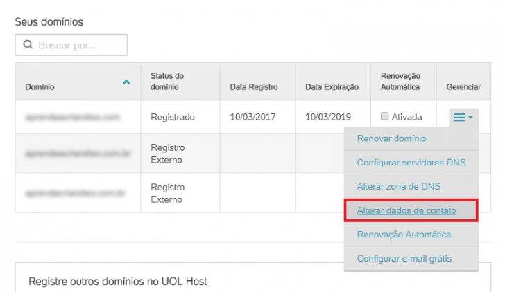 Transferir domínio internacional no UOL Host - passo 1