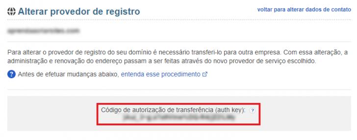 Tela exibindo a chave EPP ou auth key - necessária para a transferência do domínio