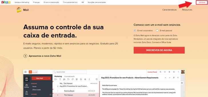 Acessar webmail Zoho