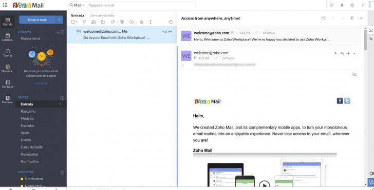 Mensagem aberta no webmail Zoho