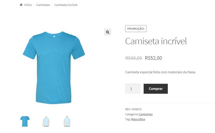 Pré-visualização da página do produto na loja