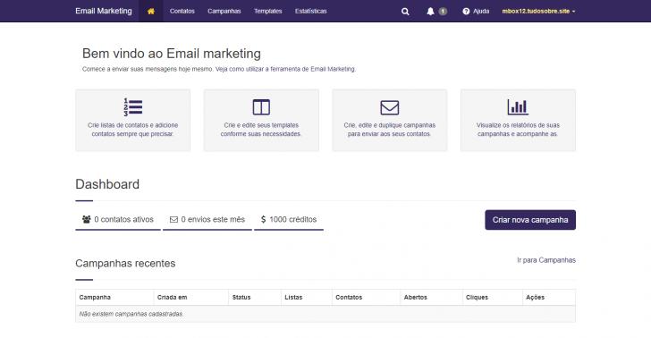 Ferramenta de e-mail marketing disponível nos planos de loja virtual