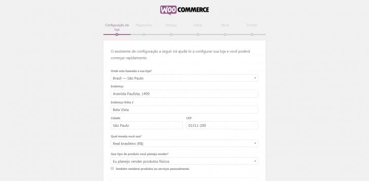 Passo 1 de configuração do assistente do WooCommerce