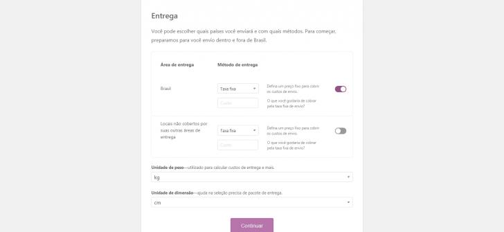 Passo 3 - configuração do método de envio